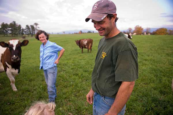 A Vermont farmer with his livestock.