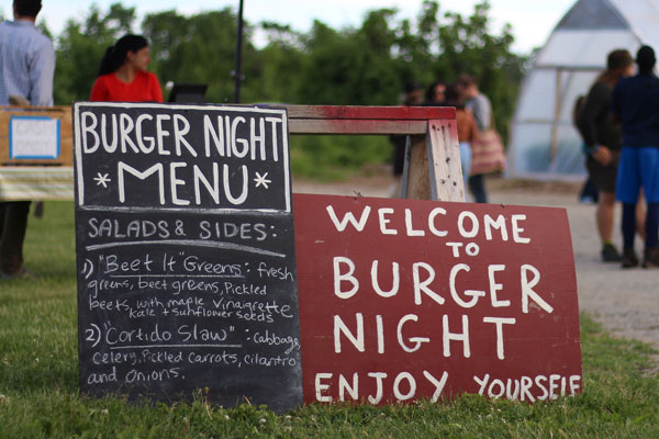 Bread and Butter Farm Welcome to Burger Night signs.