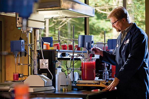 Worker in a testing lab