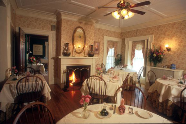 Inside Arlington Inn's charming dining room