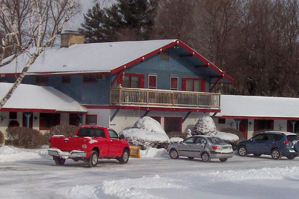 Chalet Motel blanketed in snow