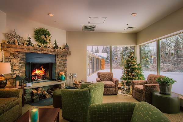 Fireplace and holiday tree with sparkling lights
