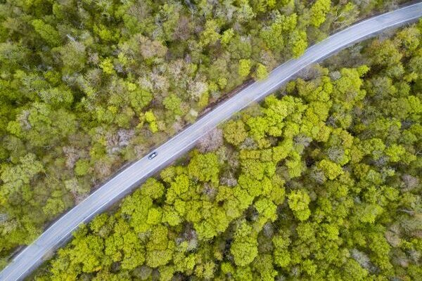Birds eye view of a Vermont roadway in the Summer