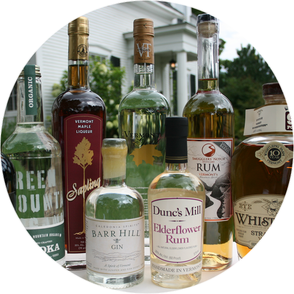 collection of Vermont liquor bottles showing the variety of spirits made in Vermont