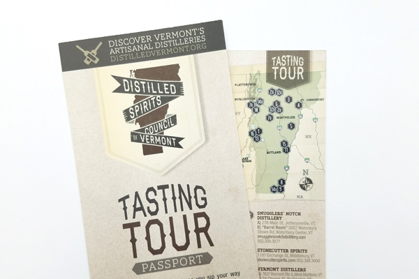 Vermont Distilled Spirits tasting tour brochure.