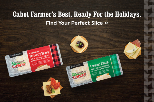 Cabot cracker cuts are the perfect cheese for the Holidays.