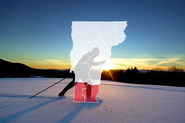 Southern Vermont overlay on cross country skier.