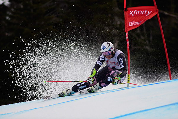 A slalom skier takes a run at Killington Mountain Resort.