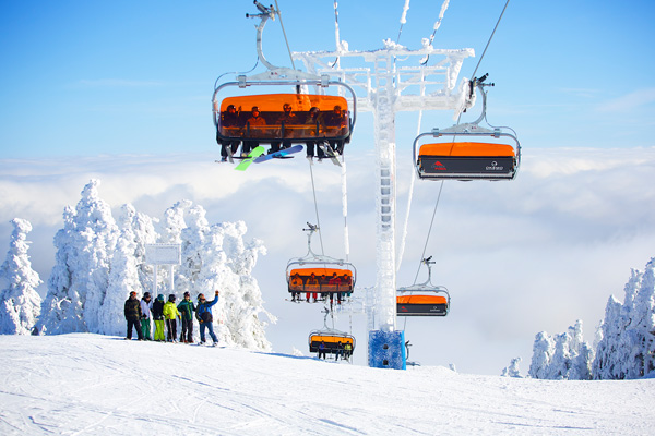 A ski lift at Okemo Mountain Resort in Ludlow, VT.