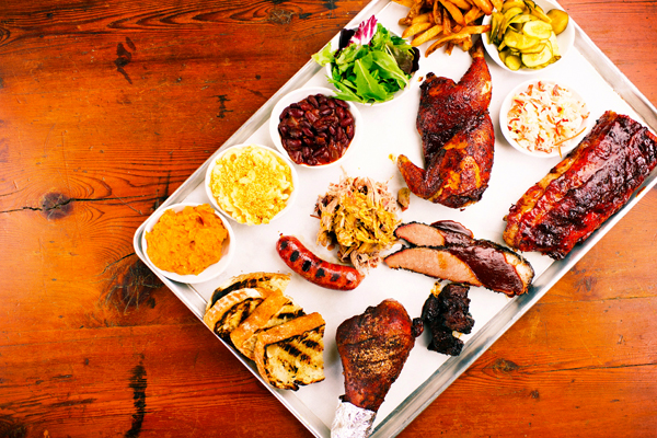 A bbq sampler from Bluebird BBQ in Burlington, VT.