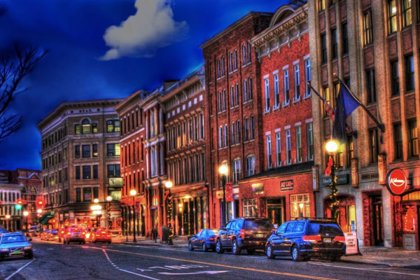 A night shot of Merchants Row in downtown Rutland, VT. Photo by Donna Wilkins.