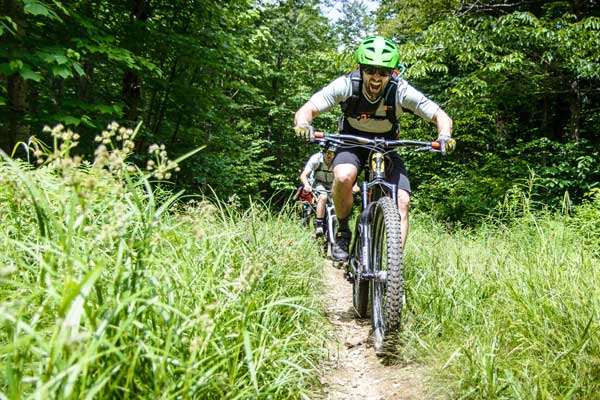 Mountain biking in Stowe, Vermont.