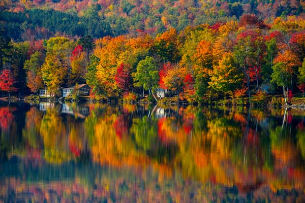 Reflection of foliage in Vermont on Lake Elmore.