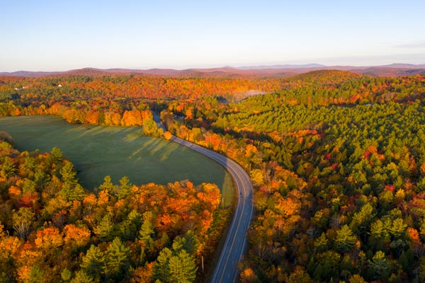 Fall aerial view over road in Marlboro, Vermont