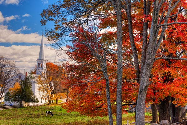 Peacham Vermont Church Overlook During Fall