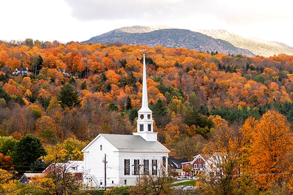 Stowe Vermont Church Overlook During Fall