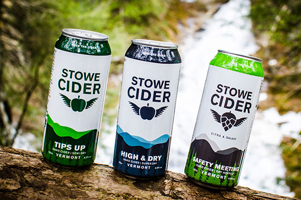 Stowe Cider Product Shot by Waterfall