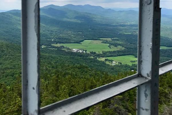 View of Vermont mountains and State Parks from the Fire Tower at Elmore