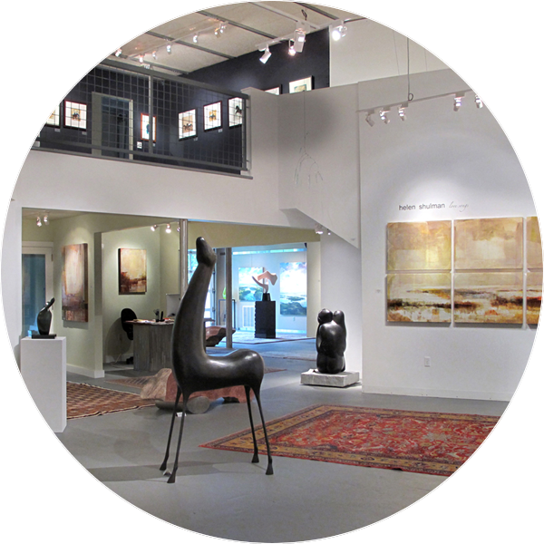paintings and sculpture on display for sale at the West Branch Gallery in Stowe