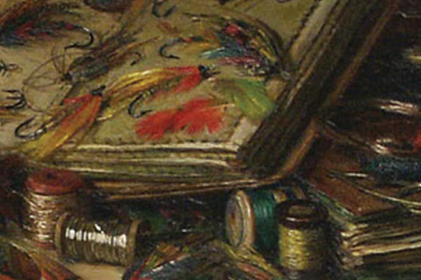 detail of painting showing fly fishing flies and materials used to make them