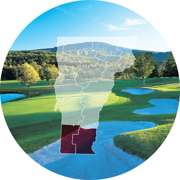 Stratton Mountain Country Club with Southern, VT overlay.