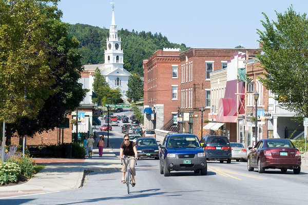 Bustle of Downtown Middlebury Vermont